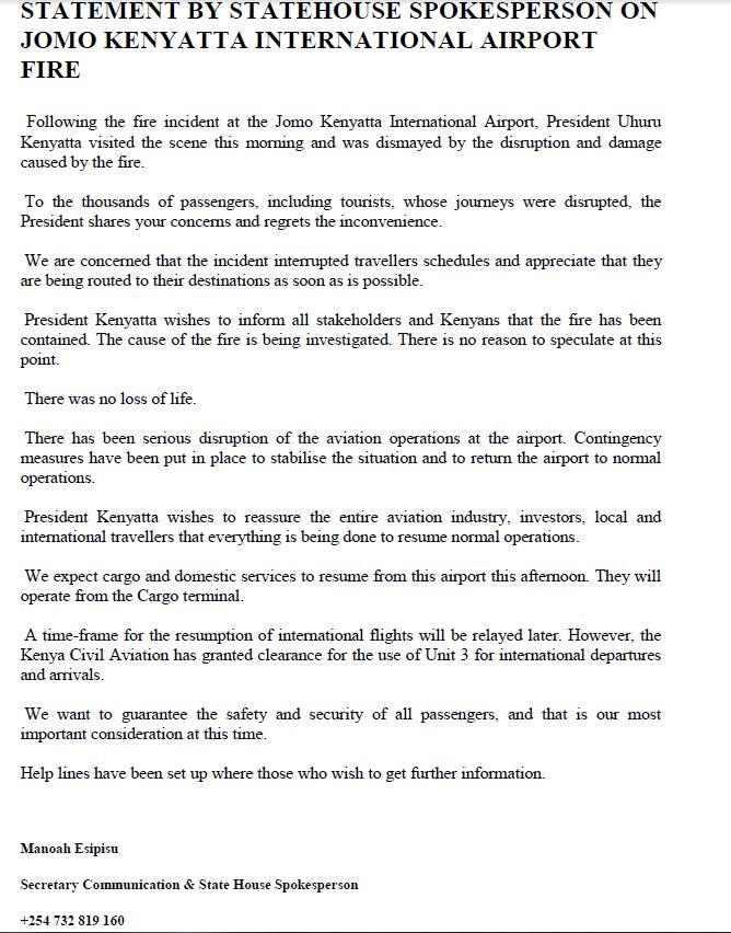 STATEMENT BY STATEHOUSE SPOKESPERSON ON JOMO KENYATTA INTERNATIONAL AIRP...