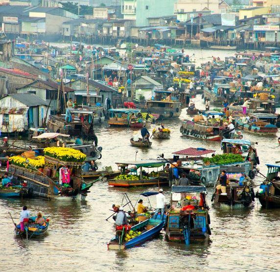 Floating Vegetable Markets, Mekong Delta, Southern Vietnam