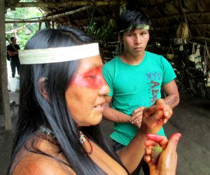 A Waorani woman explains the use of some native plants found in the Amazon.